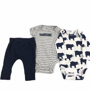 Carter's NWT Boys 3M 3 Piece Onesie Set with Pants